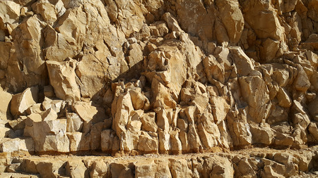 judean desert: rocks of the Judean Desert. MASADA FORTRESS. Stock Photo