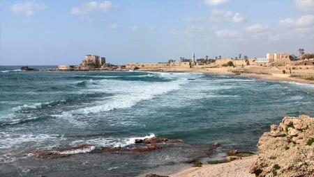 Ancient Caesarea. Mediterranean Sea View