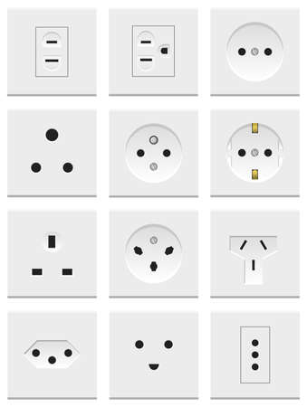 sockets: A set of various electric sockets isolated on white background