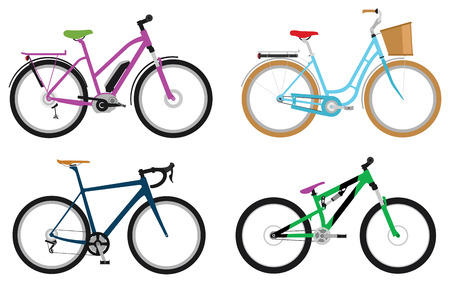 mtb: Set of various sport, city and electric bicycles