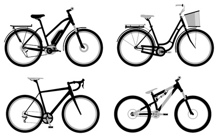 Set of various monochromic sport, city and electric bicycles