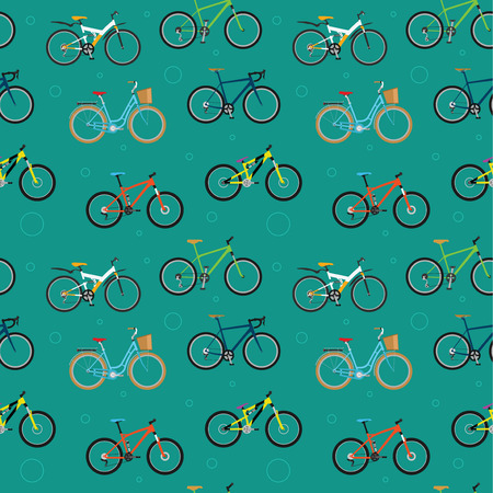 mtb: Seamless pattern with various sport and city bicycles