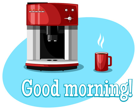 morning coffee: Coffee machine and a cup of morning coffee