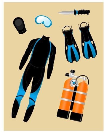 Set of various isolated diving equipment pieces