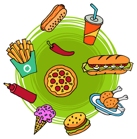 doodle: Doodle style set of fast food like pizza, hamburger, cola, ice cream, hot dog, french fries, chicken legs etc