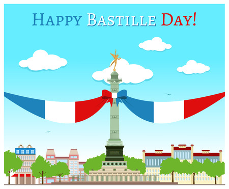 bastille: Postcard design with July Column on the Place de la Bastille Illustration