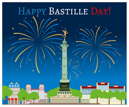 the bastille: Postcard design with July Column on the Place de la Bastille Illustration
