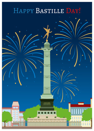bastille: Postcard design with July Column on the Place de la Bastille Illustration