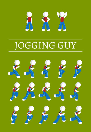 sprinting: Jogging and standing stickman guy sprite sheet Illustration