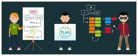 business strategy: Character collection with team, charts and kanban presentations Illustration