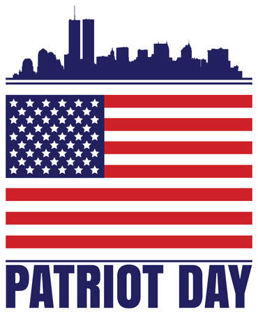 new york silhouette: Design for Patriot Day with New York silhouette