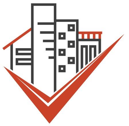 logotipo de construccion: Aislado emblema de bienes raíces con varios tipos de edificios
