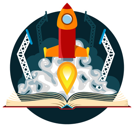 rocket: Book with a sci-fi scene of a rocket lauch