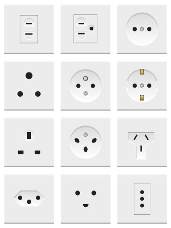 watt: A set of various electric sockets isolated on white background
