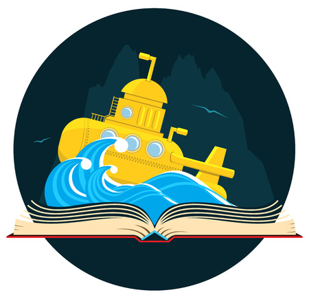 Book with a sci-fi scene with a sea submarine