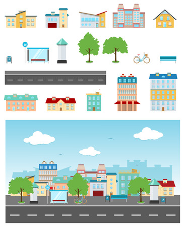 road: Set of urban buildings and constructions to make a real street from