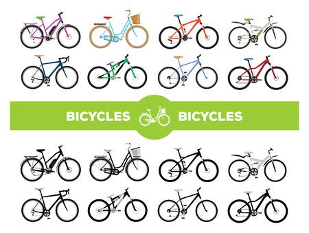 bicicleta: Conjunto de varios deportes, la ciudad y bicicletas eléctricas Vectores
