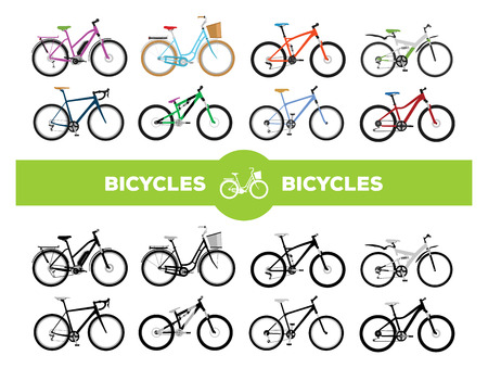 Set of various sport, city and electric bicycles