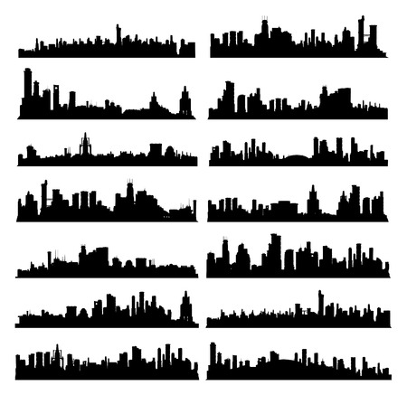 Set of generic black and white big city skylines