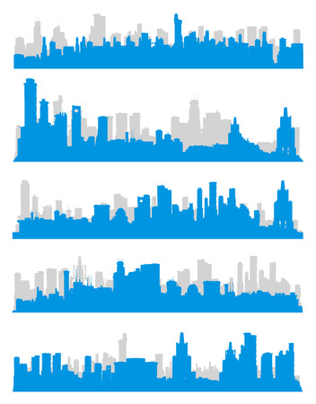 skylines: Set of generic blue and gray big city skylines