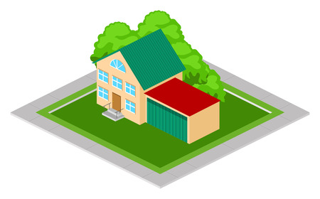 ownership: Isometric family house with garage on green lawn with trees Illustration