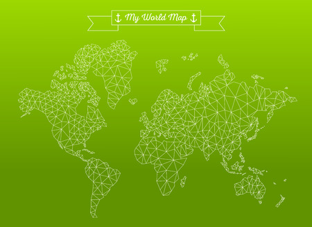 the continents: Geometric world map with the continents made of triangles Illustration