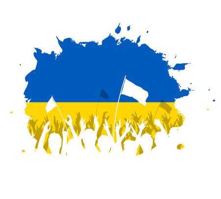 ukrainian flag: Watercolor spot design with cheering, celebrating or protesting crowd of people with Ukrainian flag