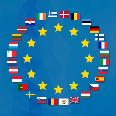 campestre: Símbolo de la Unión Europea con las banderas de todos los países participantes