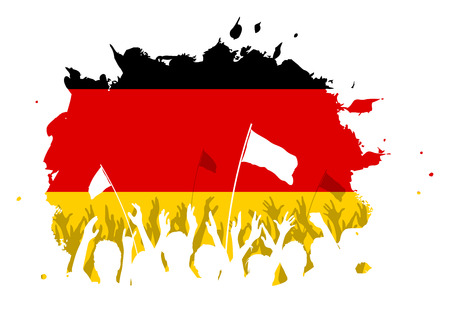 protest man: Watercolor spot design with cheering, celebrating or protesting crowd of people with German flag