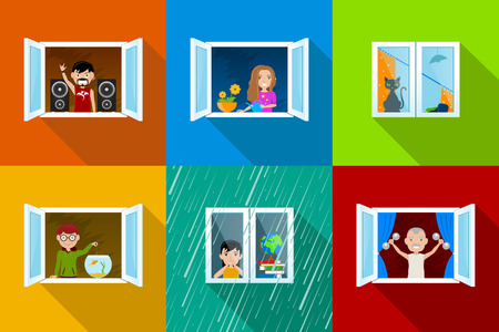 window: Different people in city building windows, young rock music fan with speakers, girl with flowers, spoiled cat, boy feeding fish, bored girl and rain and old man training with weights