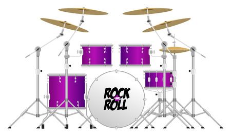 drum and bass: Big modern drum kit with tom, snare, bass and cymbals