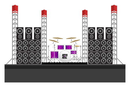 Big modern concert and festival stage with drum kit, speakers and equipment