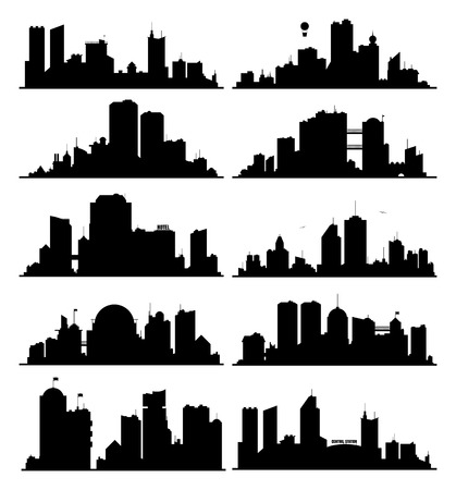 skylines: Set of generic black and white big city skylines