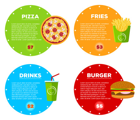 french cafe: Set of fast food cafe menu design items. Hamburger, pizza, cola drink and french fries with information and prices. Illustration