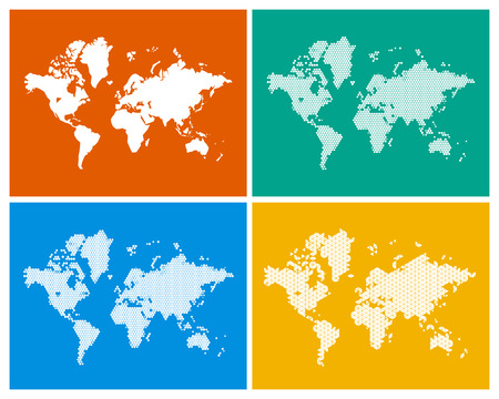 Geometric world map with the continents made of triangles in 4 world maps in 4 different styles sketch circles triangles and hexagons gumiabroncs Gallery