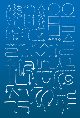 Doodle set with arrows, blocks and objects for a hard-drawn flowchart