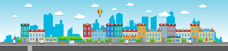 Long city street with various urban buildings, houses, shops, cafes, trees and facilities. Иллюстрация