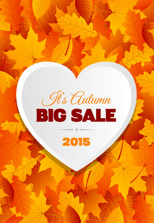 big leafs: A design for a big autumn sale flyer or postcard with lots of yellow, orange and brown leafs Illustration
