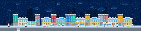 Set of winter urban city buildings and constructions in snow to make a real street from