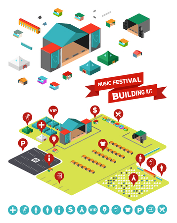Huge set of everything you need to design your own music festival - stages, facilities, tent camp, fences, parking lot and so on