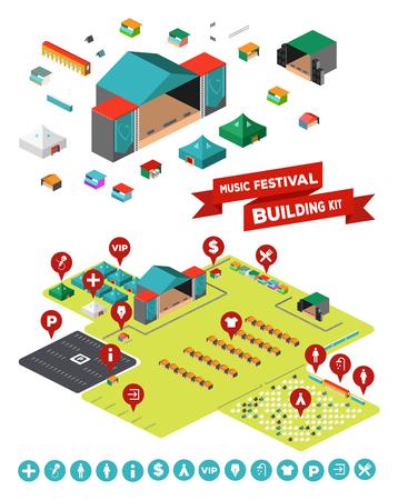 wc: Sehr großes Set alles, was Sie brauchen, um Ihre eigene Musik-Festival zu entwerfen - Stadien, Einrichtungen, Zeltlager, Zäune, Parkplatz und so weiter