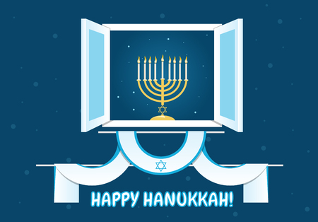 hanukkah: A postcard design for Hanukkah with menora with burning candles in a window