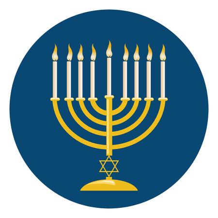 kerze: Menora oder Menorah mit brennenden Kerzen in der Regel an Hanukkah Feiern genutzt.