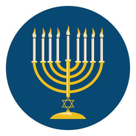 blue candles: Menora or menorah with burning candles usually used at Hanukkah celebrations.