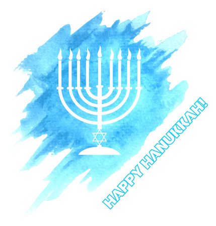 blue candles: Menora or menorah with burning candles usually used at Hanukkah celebrations on watercolor sky background.