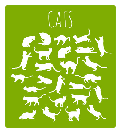 cat paw: Set of 26 different cat silhouettes in various idle and moving poses
