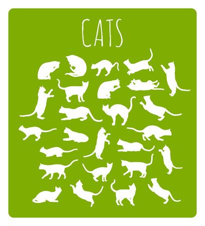 koty: Zestaw 26 różnych kotów sylwetki w różnych pozach idle i ruchomych Ilustracja