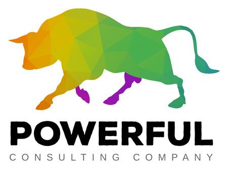 toro: Un moderno caminar multicolor logo toro plantilla Vectores