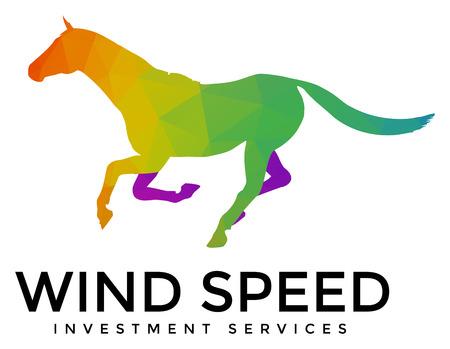 A modern multicolored running horse logo template Illustration
