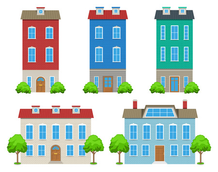 house windows: Modern city houses and buildings with trees and bushes Illustration
